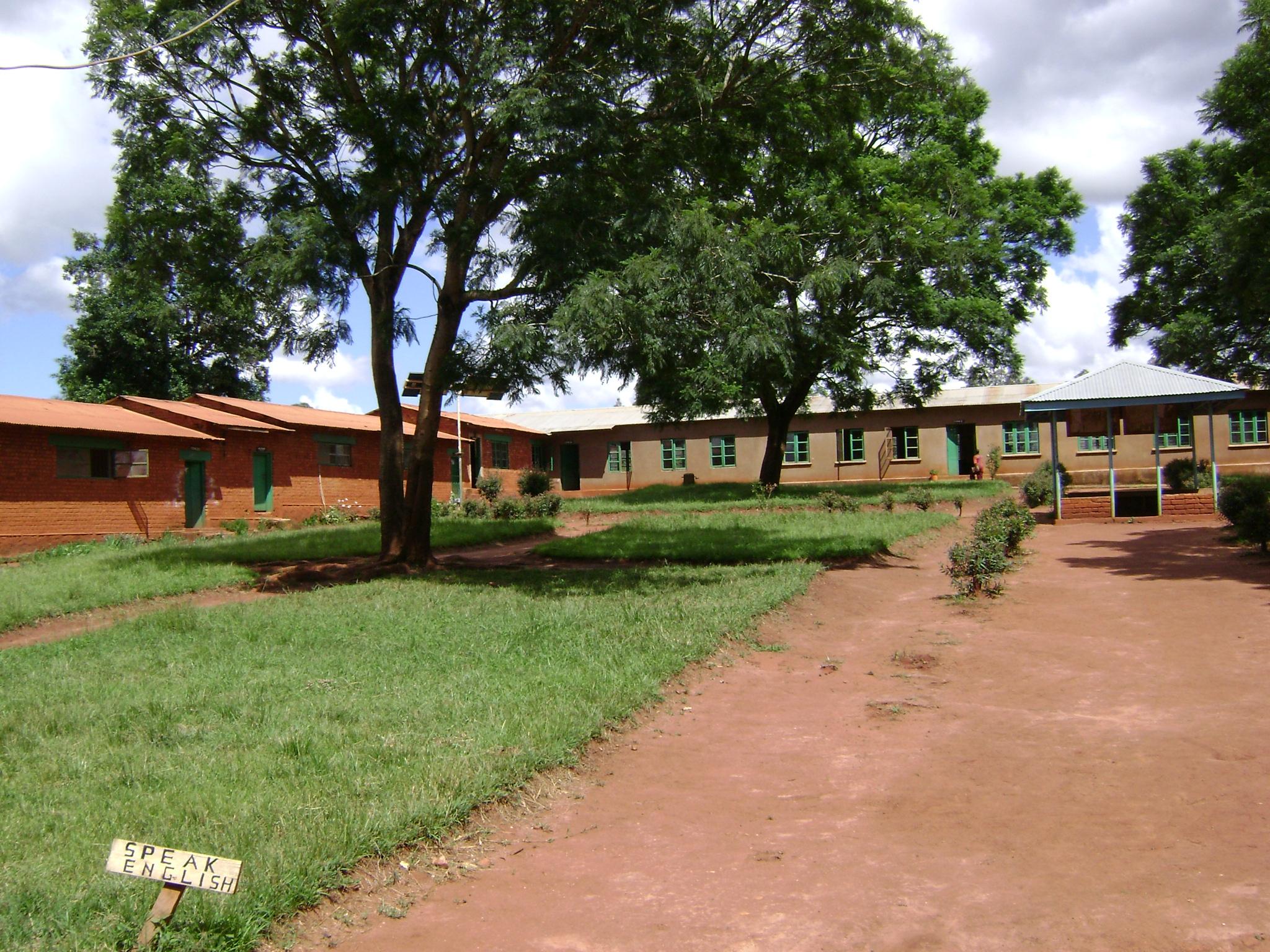 Left side of school courtyard
